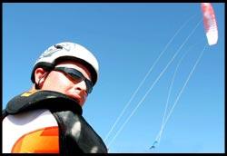 Jason Locock flies in the crystal clear skies